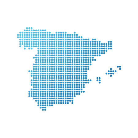 Map of Spain, Vector Icon in blue modern style