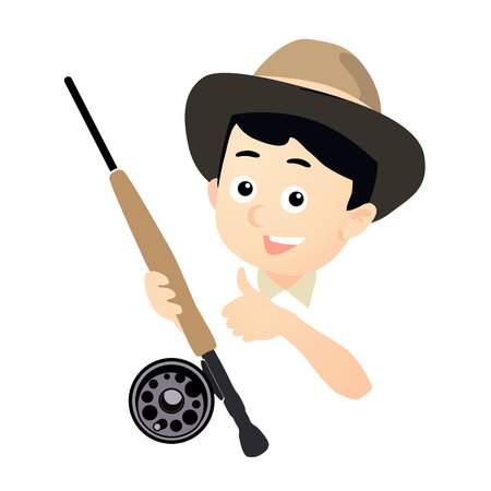 fly fishing: Fisherman with Fly Fishing Rod, Funny Vector Illustration isolated on white Illustration