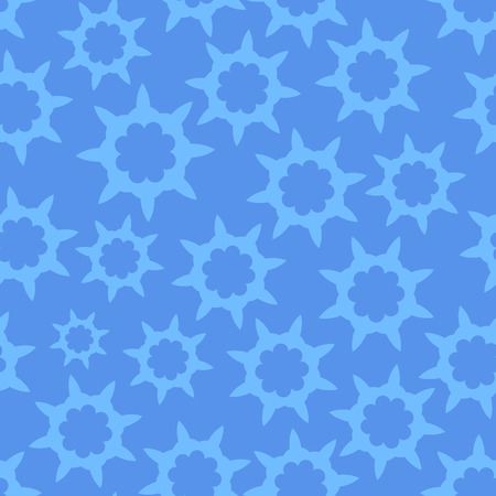looped: Seamless Looped Pattern in Cold Blue color with Style Stars Ornament. Illustration. Illustration