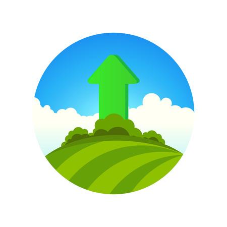 planting: Planting of Greenery, Round Emblem of Summer Nature. Illustration. Illustration