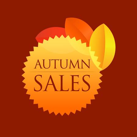 Autumn Sales - Round Emblem isolated on dark red background.