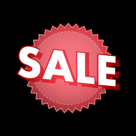 Sale Sticker in red color isolated on black background. Illustration.