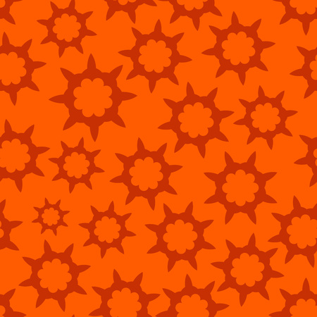 looped: Orange Seamless Looped Pattern with Hot illustration of Fire with Sharp Stars. Texture Illustration. Illustration