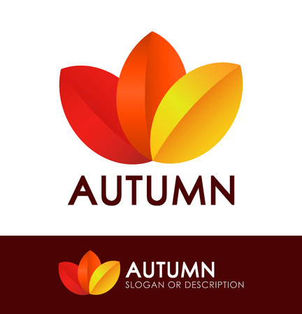 eco slogan: Style with Autumn Leaves isolated on white and dark background. Illustration
