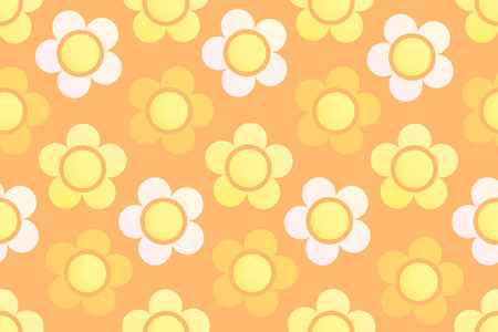 Colorful Flowers on Wallpaper. Seamless Background with Floral Ornament. Cute Texture in colors of Summer.