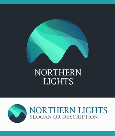 Northern Lights, Vector Logo isolated on white background Vettoriali