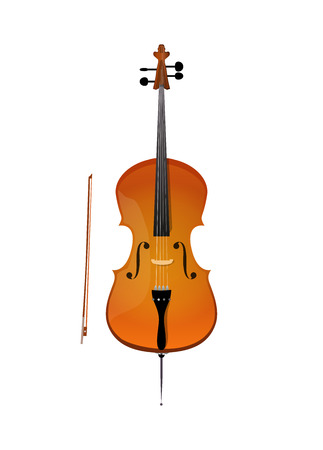 Cello, illustration of stringed orchestra music instrument Illustration