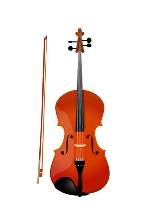 Red violin isolated, Vector Illustration of Fiddle