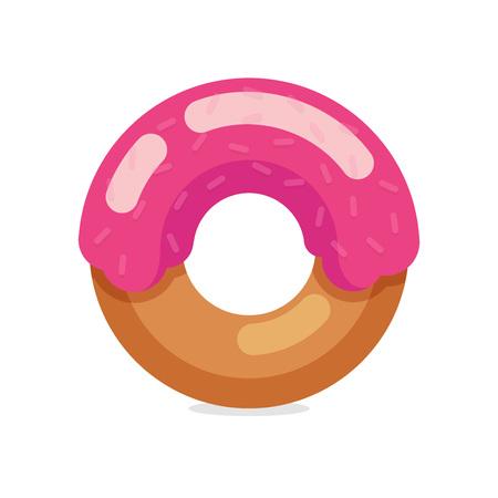 Sweet Donut isolated on dark background - Vector Illustration