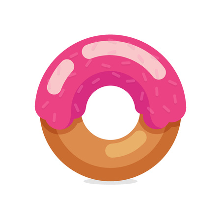 Sweet Donut isolated on dark background - Vector Illustration