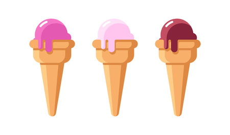 Tasty Set of Ice Cream isolated on white - Vector Illustrations