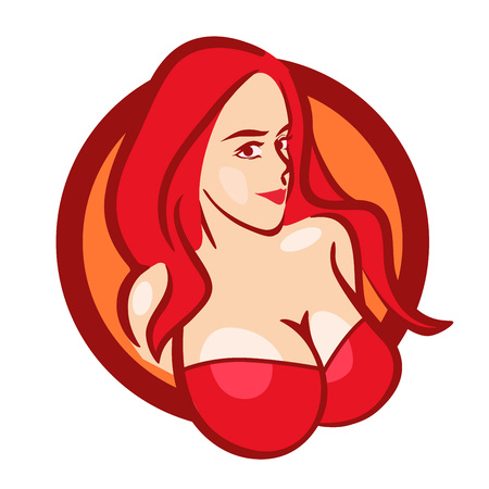 Beautiful Girl in Red Bra with Big Boobs - Vector Bust for Logo or Emblem of Store or Web Site. Stok Fotoğraf - 100303201