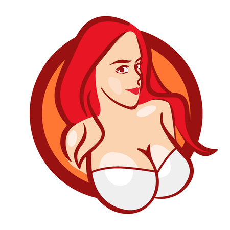 Beautiful Girl in White Bra with Big Boobs - Vector Bust for Emblem of Store or Web Site. Stok Fotoğraf
