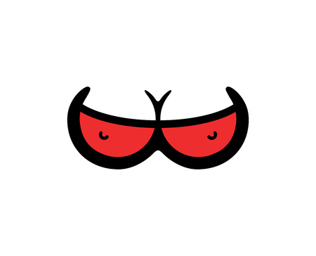 Vector Logo of Girls Boobs in Red Bra - XXX Illustration for Sex Shop or Web Sites with Adult Content. Zdjęcie Seryjne