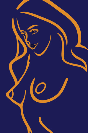 Background with Contour of Nude Girl - Vector Banner Illustration for Cosmetic or Fashion Web Site or Design of Flyer.