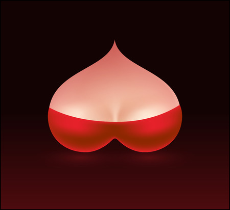 Woman Boobs in form of Heart with Red Bra. Vector Illustration of Beautiful Female Breast on dark background.