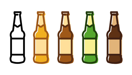 Vector set of beer bottle icons of various colors isolated on white background