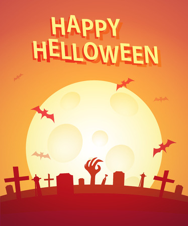 Happy Helloween Poster - Creepy Vector invitation Poster with copy space for signing date, time and place of the party or event.