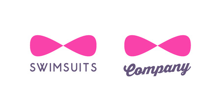 Logo for Swimsuit Shop. Bra in form of Infinity. Vector illustration isolated on white background.
