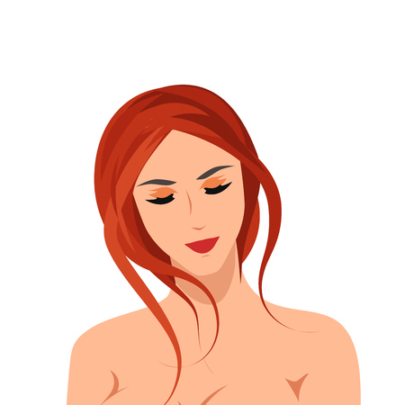 Beautiful relaxed nude girl isolated on white. Vector illustration