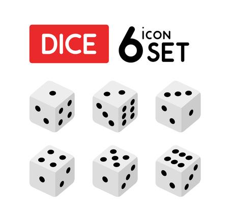 Würfelset mit Zahlen von Eins bis Sechs. Vektorikonen lokalisiert auf Weiß.
