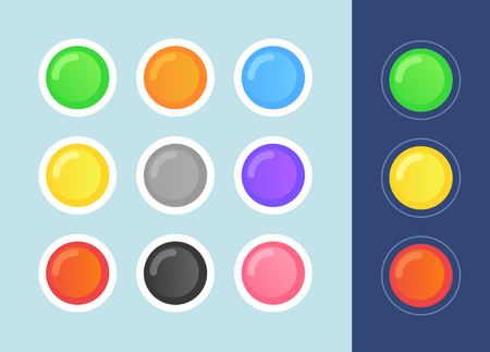 Vector Status Icon Set on dark and light backgrounds. in cartoon style. State Signs Round Form.
