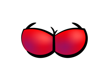 Vector icon of red bra on femaly breast