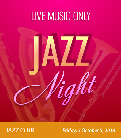 Flyer for Jazz Night Party - Vector Template for Music concert event in Contemporary Modern and Very Beautiful Style. Çizim