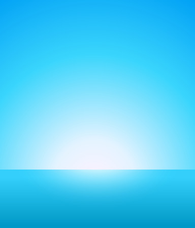 Abstract Vector Background of Nautical Marine Landscape with Blue Sky, Horizon and Beautiful Ocean. Not cluttered Light Wallpaper for Travel company or Business with Bright Atmosphere.  イラスト・ベクター素材