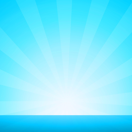 Nautical Marine Landscape with Sunburst and Blue Sea Horizon - Vector Illustration in EPS 10. 向量圖像