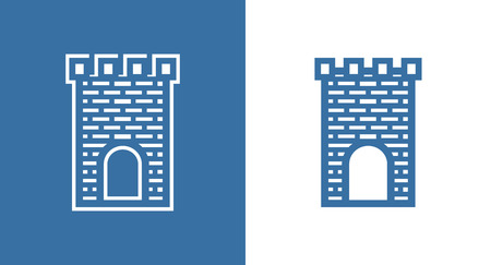 Icon of Medieval Scotland Castle. European Historical Building Fortless in black and white color. Illustration
