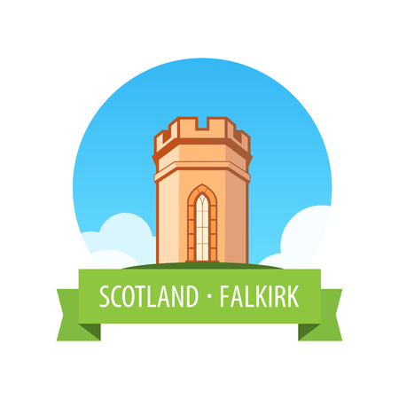 Emblem with European Castle in Sunny day - Falkirk, Scotland