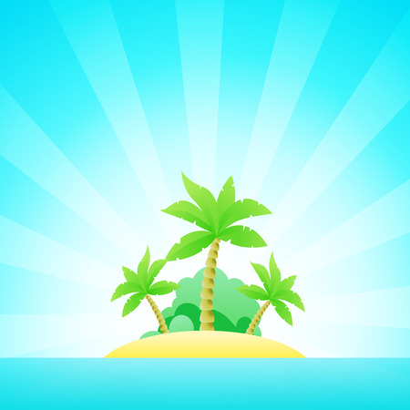 Cartoon Seascape with Exotic Island in Ocean under Clean Blue Sky