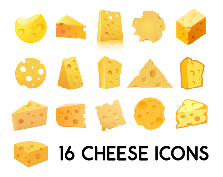 Cheese Icon Set isolated on white background.