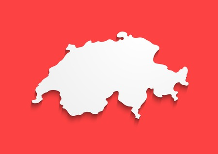 Switzerland Contour Map in colors of national flag. Vector Red banner with white sign of Country, EPS 10.