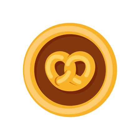 Vector logotype for Bakery, Pretzel bun in round orange emblem isolated on white.