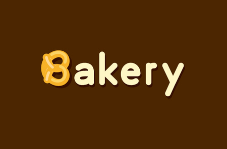 Baker Logo with Pretzel roll - Vector Emblem Design of Baker products on dark background in creative style.
