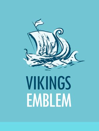 Emblem with Scandinavian Ship - Vikings Drakkar in Sea Illustration