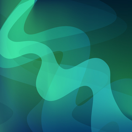 Aurora Northern Borealis Sky Nature Skyscape. Vector Abstract Wallpaper in wavy form green color of Northern Lights.