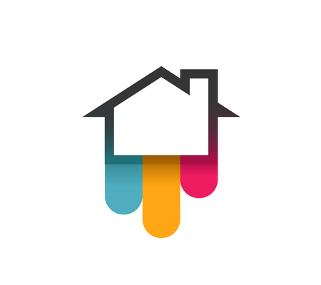 Logo of House with Colorful Bends - Vector Illustration isolated on white background. Illustration