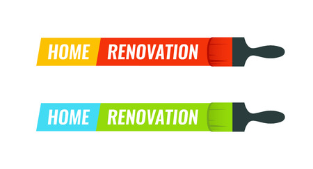 Home Renovation - Set of Vector emblem illustration for House Remodel logotype