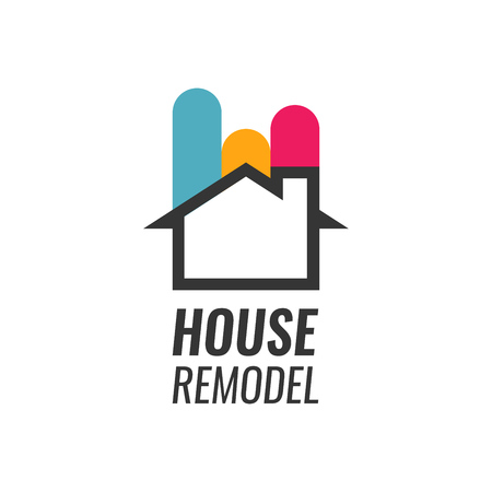 House Remodel - Vector Logo with House silhouette and Caption. House Renovation and Staining