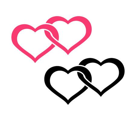 Corazones gemelos - Logotipo plano, símbolo de compromiso. Ilustración de vector aislado sobre fondo blanco.