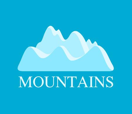 Vector Illustration of Mountains in Light Blue color - Landscape pf Rocks for Travel Company. Illustration