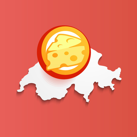 Illustration of Swiss Cheese on map of Switzerland - Vector Symbol isolated on red background. Vettoriali