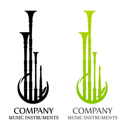 Logo with Bagpipes in flat Black and Green colors
