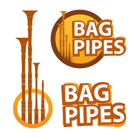 Logo with Bagpipes on white and black