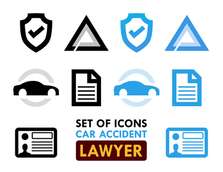 Set of Icons for Car Accident Lawyer, Vector Illustrations in Black and Blue colors isolated on white background. Ilustracja