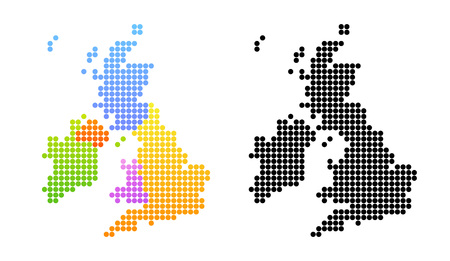 Map of United Kingdom and Ireland in black and color 写真素材