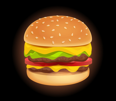 Vector Icon of Colorful Tasty Burger isolated on Black background. Sandwich in cartoon style. Standard-Bild - 113566892